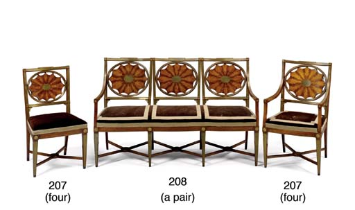 A PAIR OF RUSSIAN SETTEES