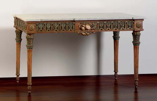 A LOUIS XVI GILTWOOD AND BRONZ