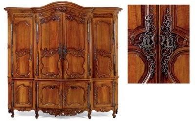 A LOUIS XV WALNUT AND FRUITWOO