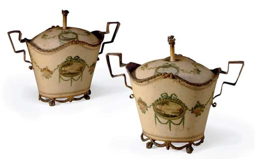 A PAIR OF PAINTED TOLE LIDDED