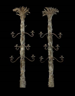 A PAIR OF TREE-FORM GILT METAL