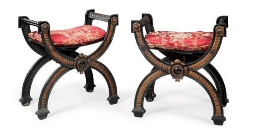 A PAIR OF FRENCH BLACK-PAINTED