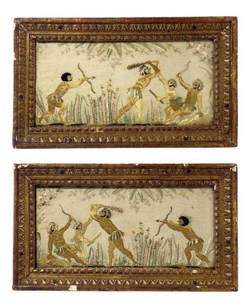 A PAIR OF SILK EMBROIDERIES OF