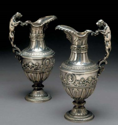A PAIR OF FRENCH SILVERED EWER