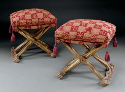 A PAIR OF FRENCH GILTWOOD PLIA