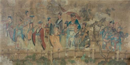 A CHINESE PAINTING OF A PROCES
