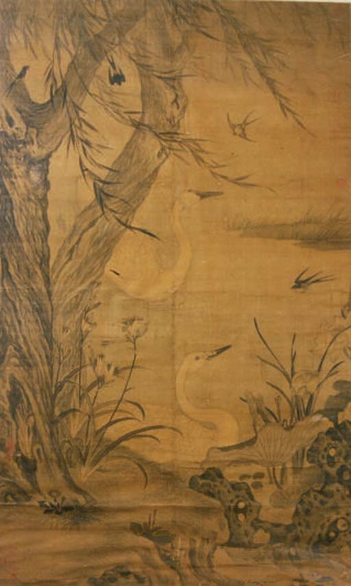 A CHINESE PAINTING OF SWANS AN