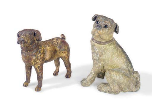 TWO PLASTER CAST MODELS OF PUG