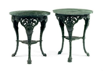 A PAIR OF CAST IRON GREEN PAIN