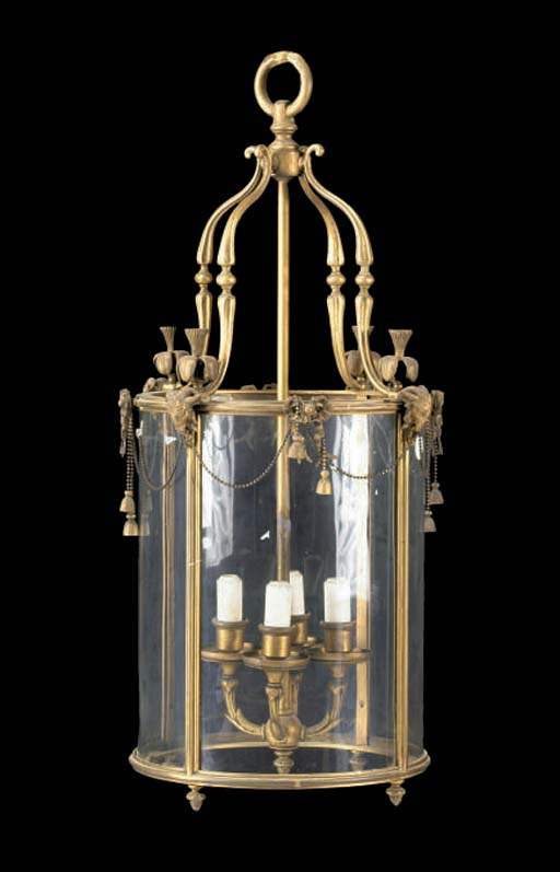 A BRASS AND GLASS HANGING HALL