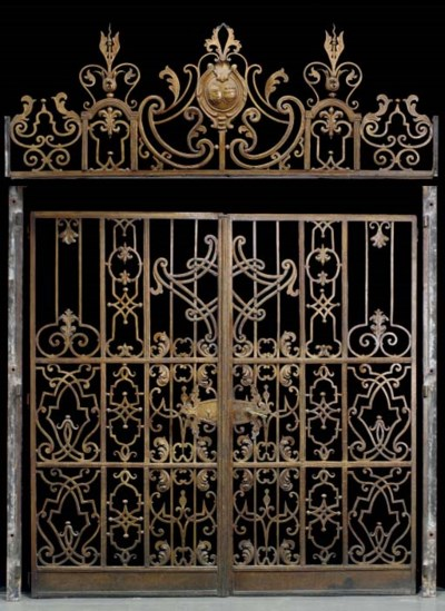 A PAIR OF PAINTED BRONZE GATES
