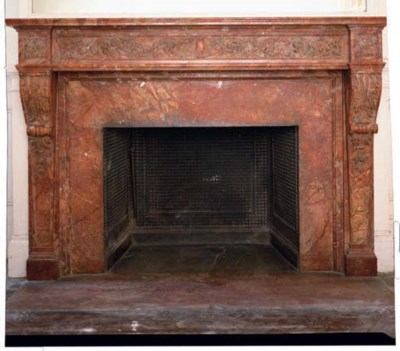 A FRENCH ROUGE MARBLE FIRE SUR