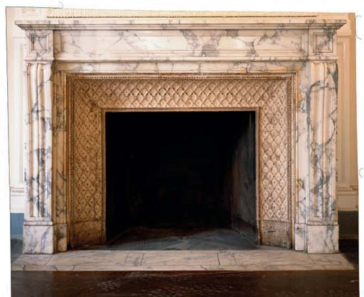 A FRENCH MOTTLED WHITE MARBLE