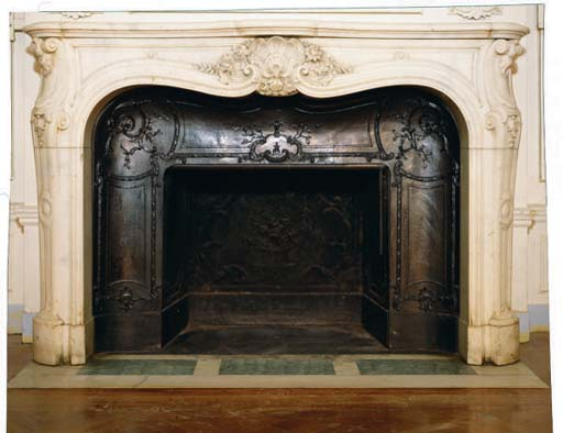 A FRENCH WHITE MARBLE FIRE SUR