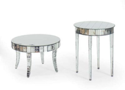 TWO MIRRORED LOW TABLES,