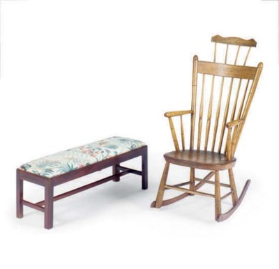 A TURNED ROCKING CHAIR, A WICK