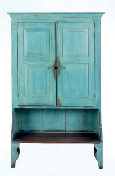 A BLUE PAINTED TWO DOOR TALL C