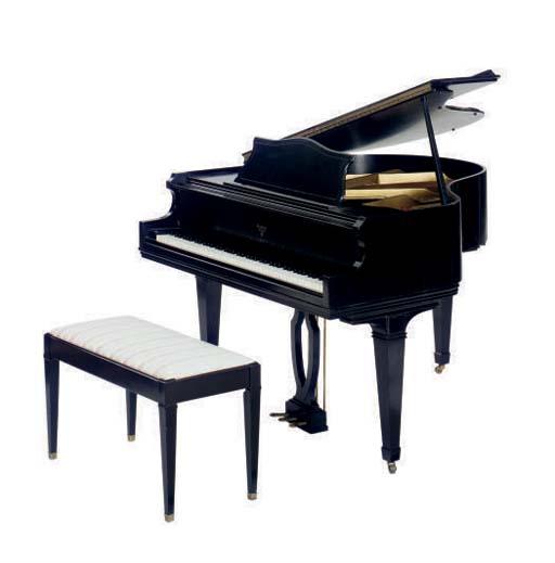 A PETITE EBONY GRAND PIANO AND