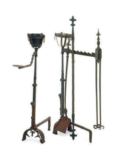 A MASSIVE PAIR OF WROUGHT IRON