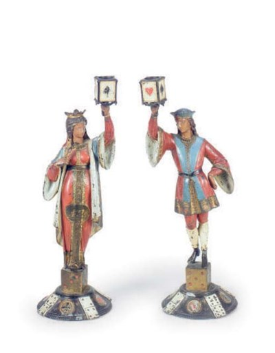 A PAIR OF POLYCHROME PAINTED S