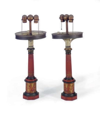 A PAIR OF SCARLET TOLE PAINTED