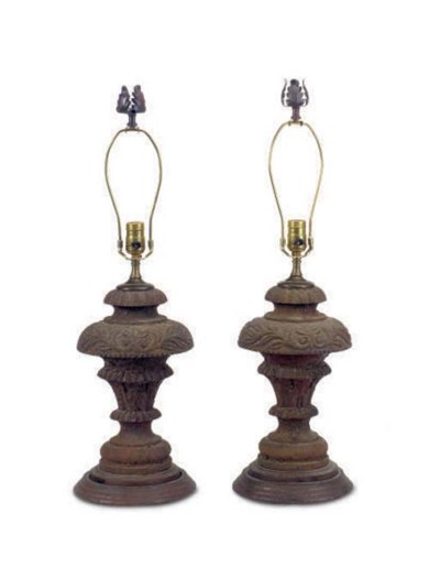 A PAIR OF CAST IRON URNS MOUNT