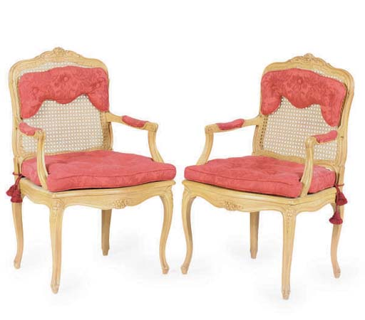 A PAIR OF CANED BEECHWOOD FAUT