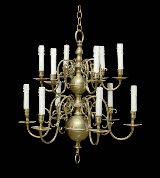 TWO BAROQUE BRASS CHANDELIERS,