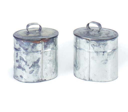 TWO METAL CANNISTERS WITH LIDS