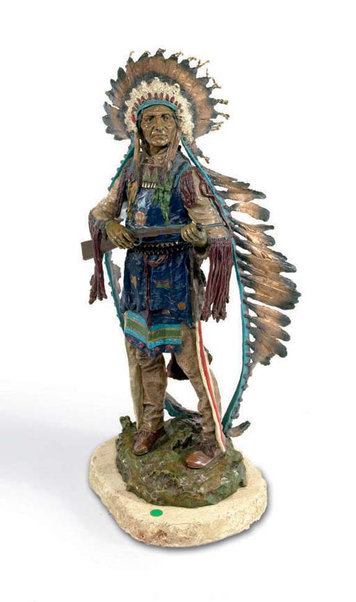 A POLYCHROME PAINTED BRONZE OF