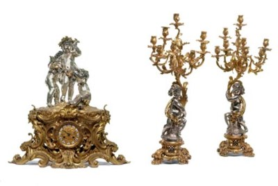 A Napoleon III ormolu and silv