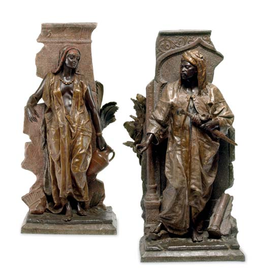 A pair of polychrome-patinated