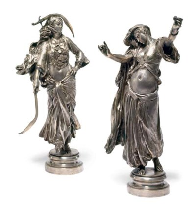 A pair of French silvered-bron