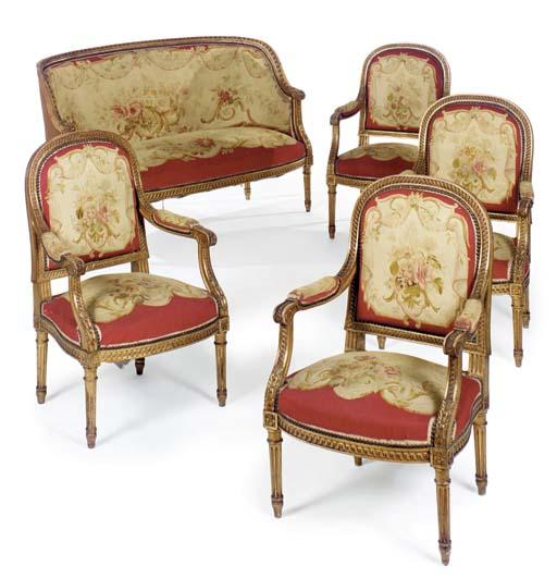 a louis xvi style giltwood and aubusson five piece salon suite second half 19th century. Black Bedroom Furniture Sets. Home Design Ideas