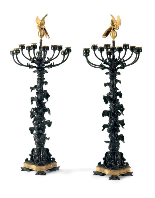 A pair of French parcel-gilt a