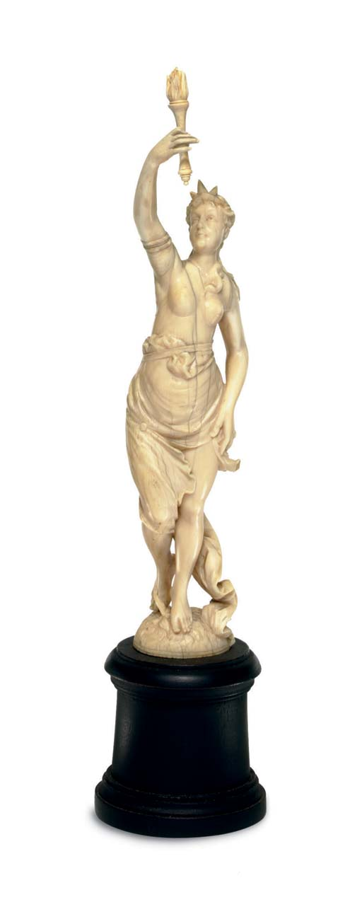 A French ivory figure of Liber