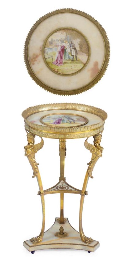 A French ormolu- and porcelain