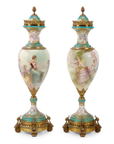 A MASSIVE PAIR OF ORMOLU-MOUNT
