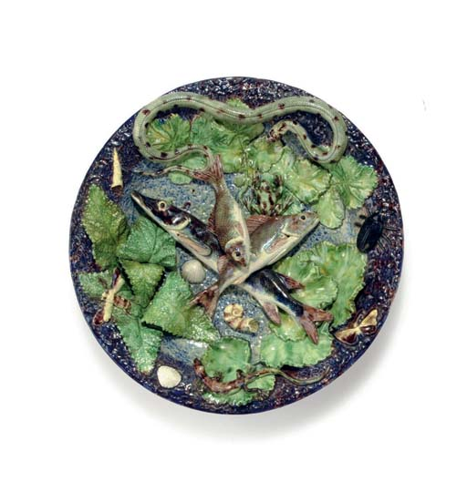 A FRENCH PALISSY STYLE MAJOLIC