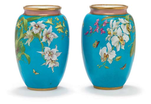 A PAIR OF MINTONS TURQUOISE-GR