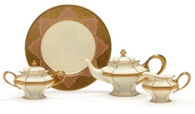 A LENOX GILT-WHITE PART TEA SE