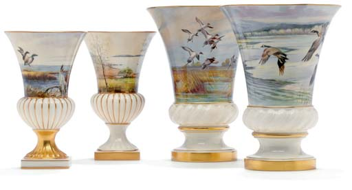 FOUR LENOX IVORY-GROUND VASES