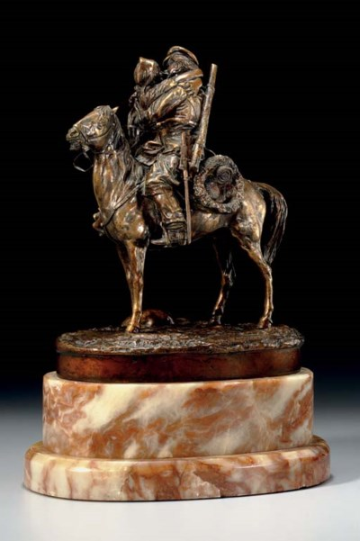 Bronze Equestrian Group of an