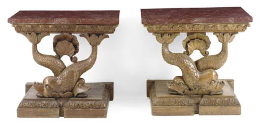 A PAIR OF CARVED-PINE CONSOLE