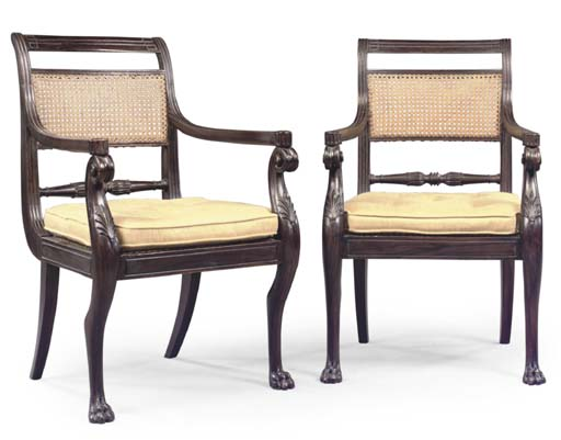 A PAIR OF REGENCY SIMULATED-RO