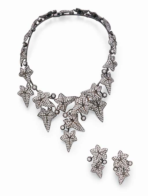 A SUITE OF DIAMOND IVY JEWELRY