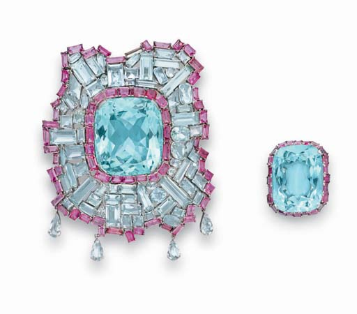 A SET OF AQUAMARINE AND PINK T