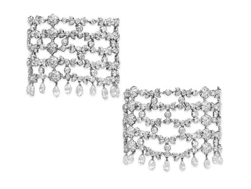 A PAIR OF DIAMOND BRACELETS