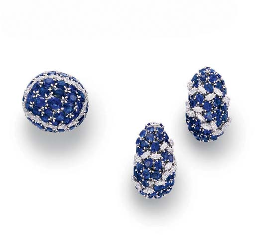 A SET OF SAPPHIRE AND DIAMOND JEWELRY, BY DAVID WEBB