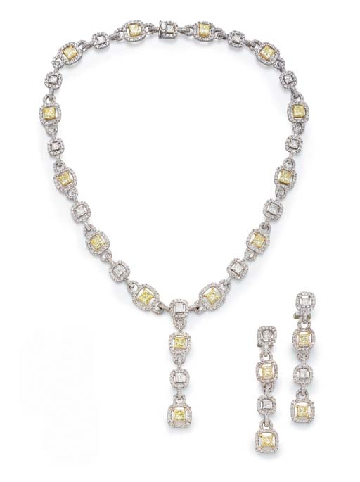 A SUITE OF COLORED DIAMOND JEW
